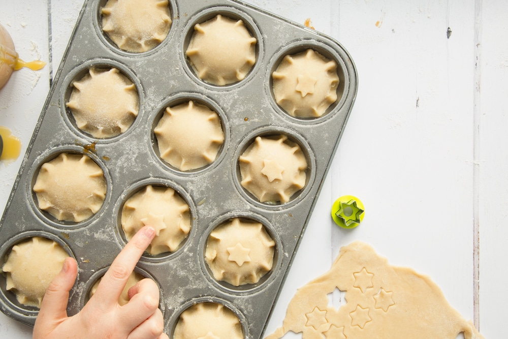Decorate the salted caramel mince pies with pastry decorations, like these small stars