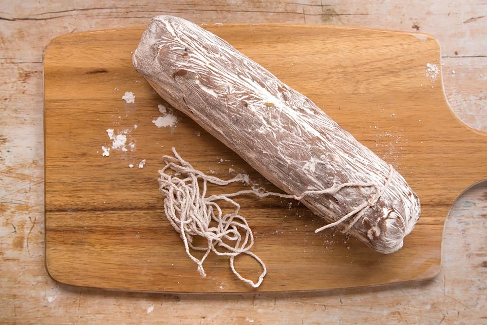 Use food-safe string to create the look of salami