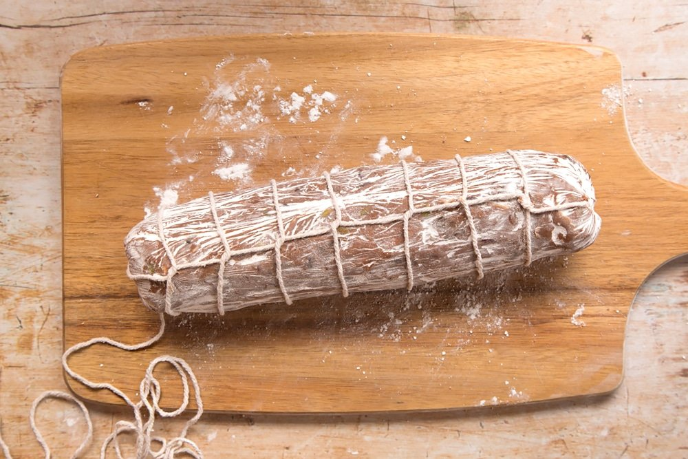 Creating the look of real salami with food-safe string