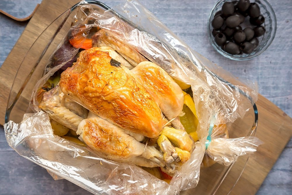 Healthier roast chicken, ready to serve