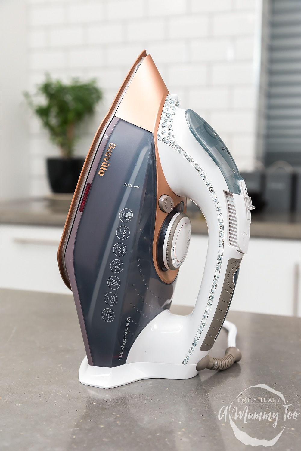 Side angle shot Breville DiamondXpress 3100W Steam Iron with Ceramic Soleplate with amummytoo logo in lower-right corner