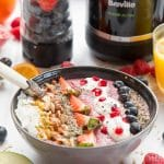 Thick and satisfying vegan fruit and nut smoothie bowl