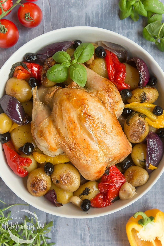 Healthier roast chicken with Mediterranean vegetables