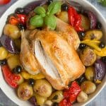 Healthier roast chicken with Mediterranean veg