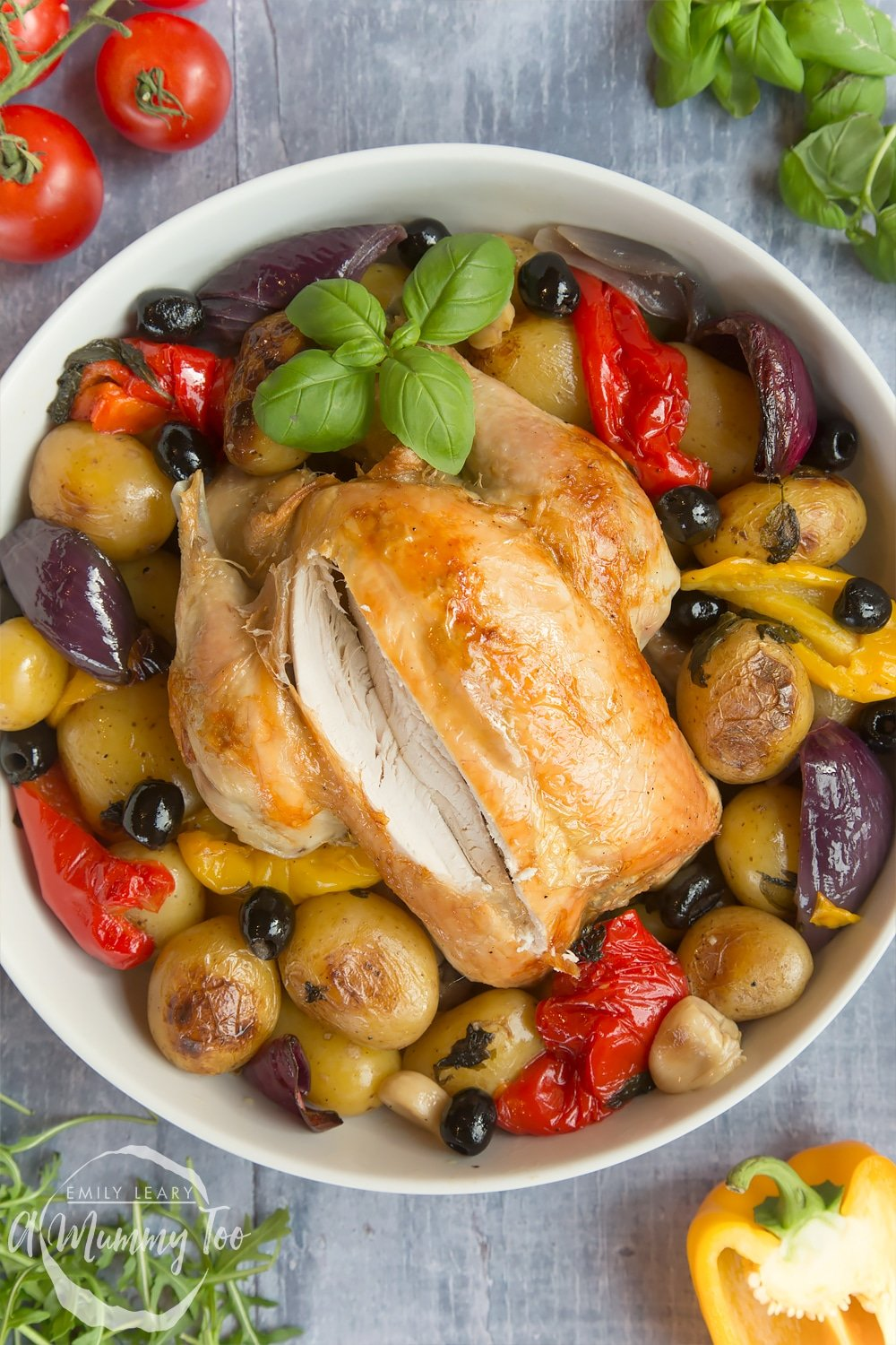 A deliciously healthier roast chicken with Mediterranean veg