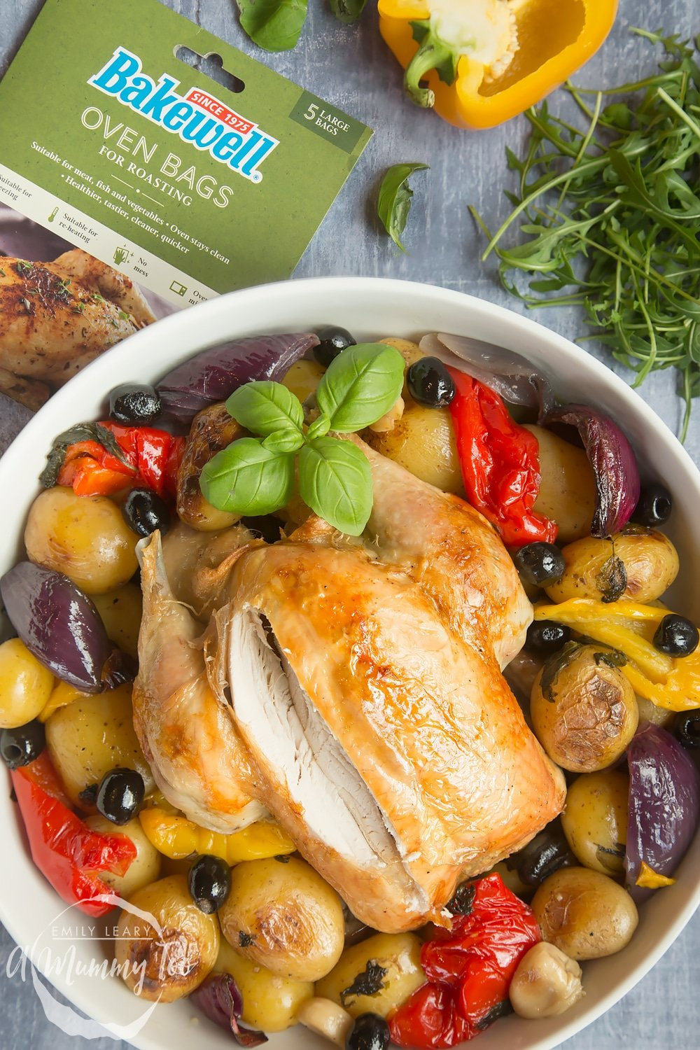 Healthier roast chicken, made using bakewell oven bags
