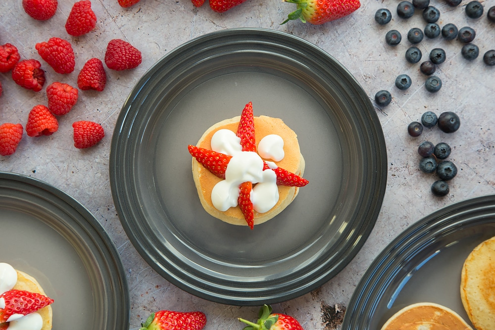 Add another pancake to your fruity pancake stack, this time topped with strawberries and yogurt