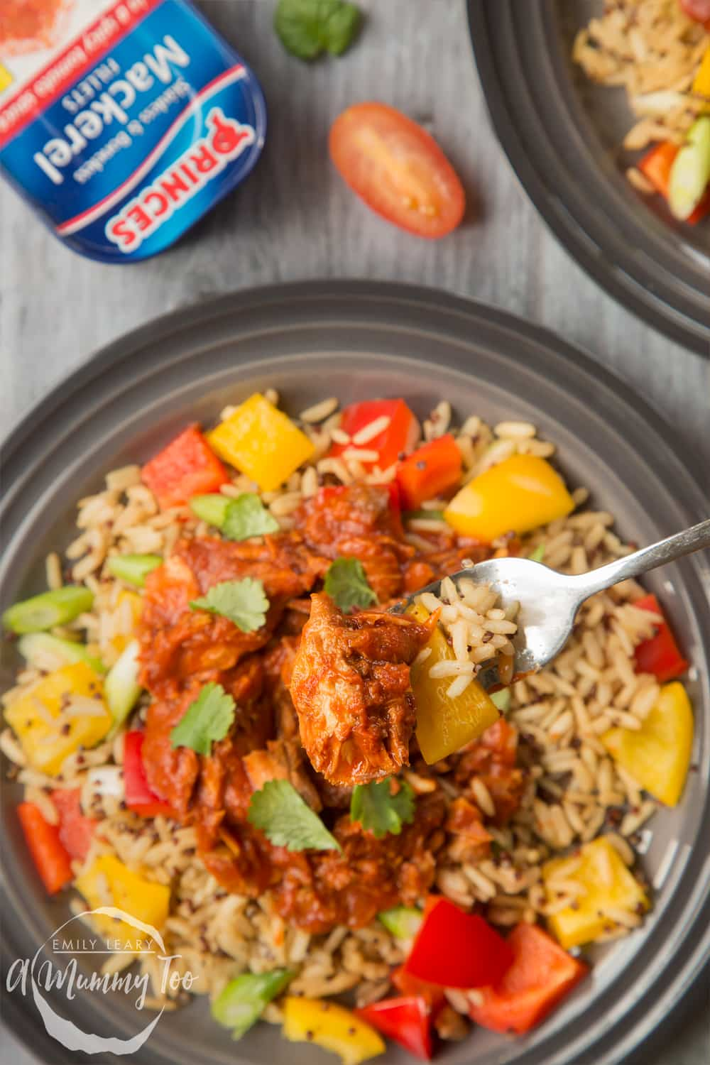 Spicy tomato mackerel with rice, made with Princes mackerel fillets in a spicy tomato sauce