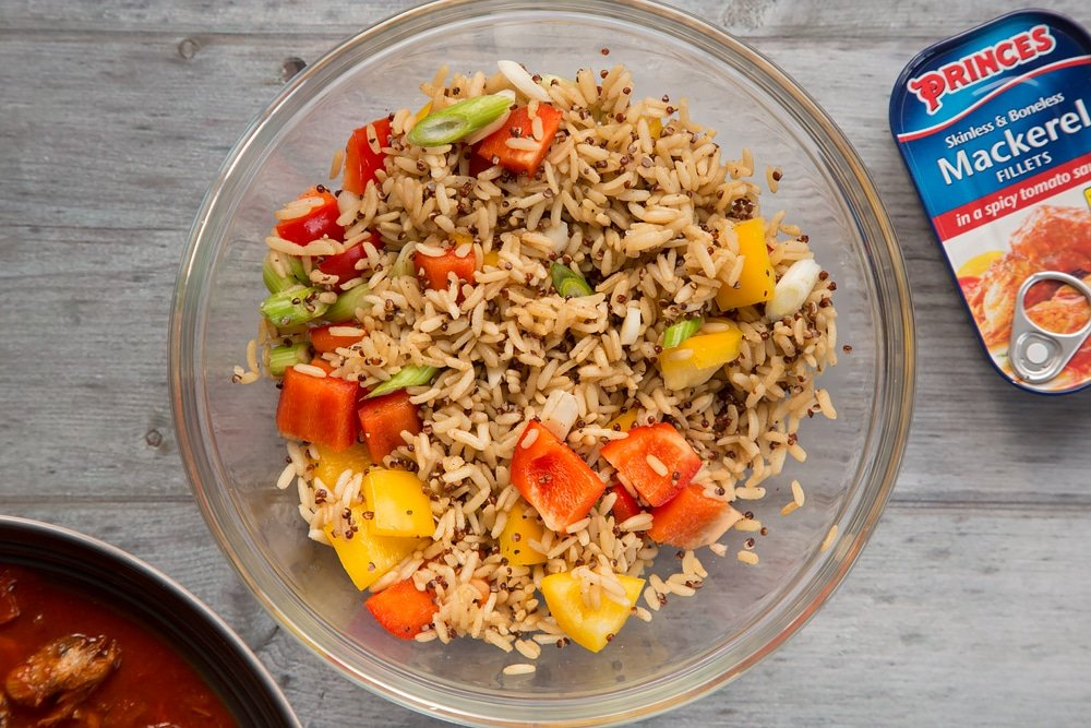 Seasoned rice with mixed vegetables