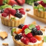 Whipped yogurt fruit tarts
