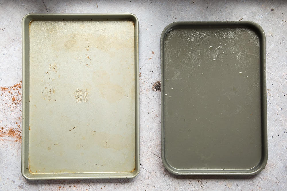 Two cake pans are shown empty, ready for the black velvet sheet cake mix