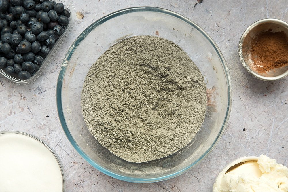 The dry ingredients are mixed together to form a grey mix