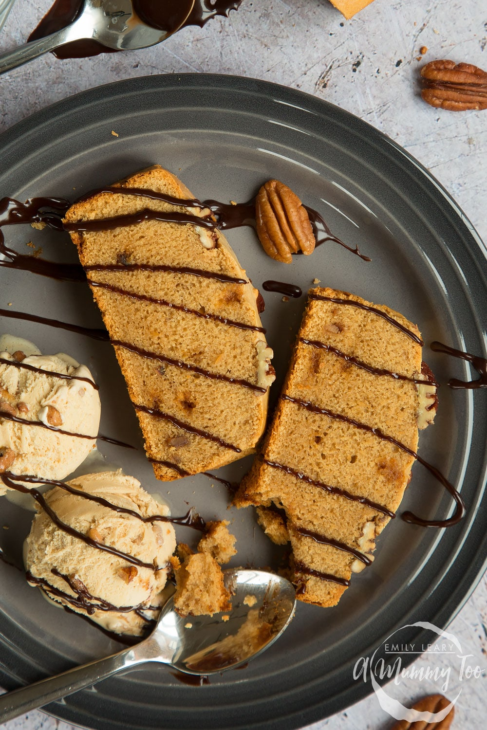 Sliced, freshly baked butterscotch pecan ice cream loaf