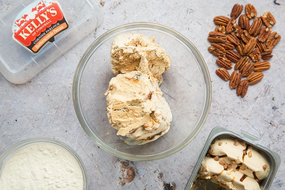 Scoop the butterscotch and pecan ice cream into a bowl