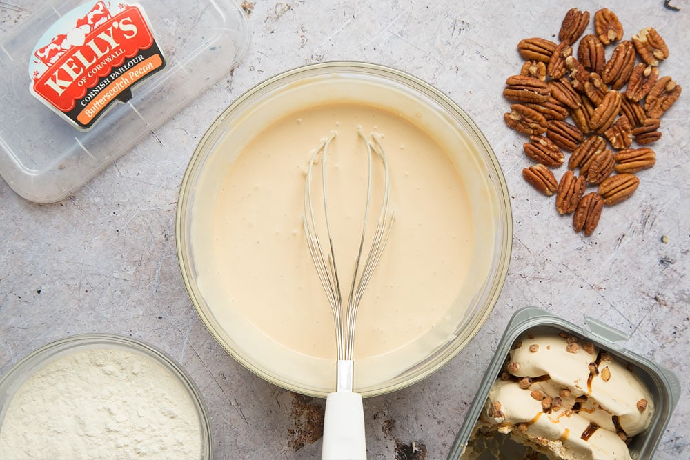 Allow the ice cream to defrost until liquid