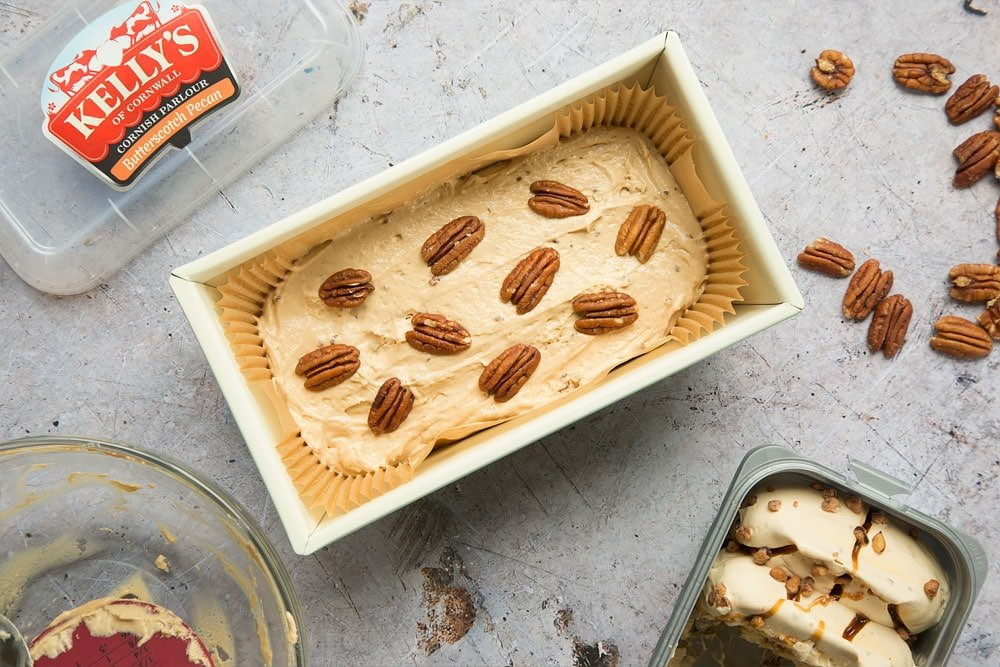 Top your ice cream loaf with pecans