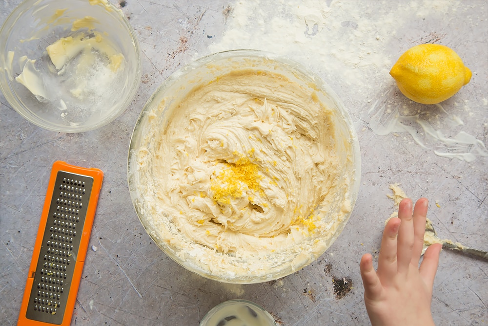 Lemon rind is added to the sponge cake mixture