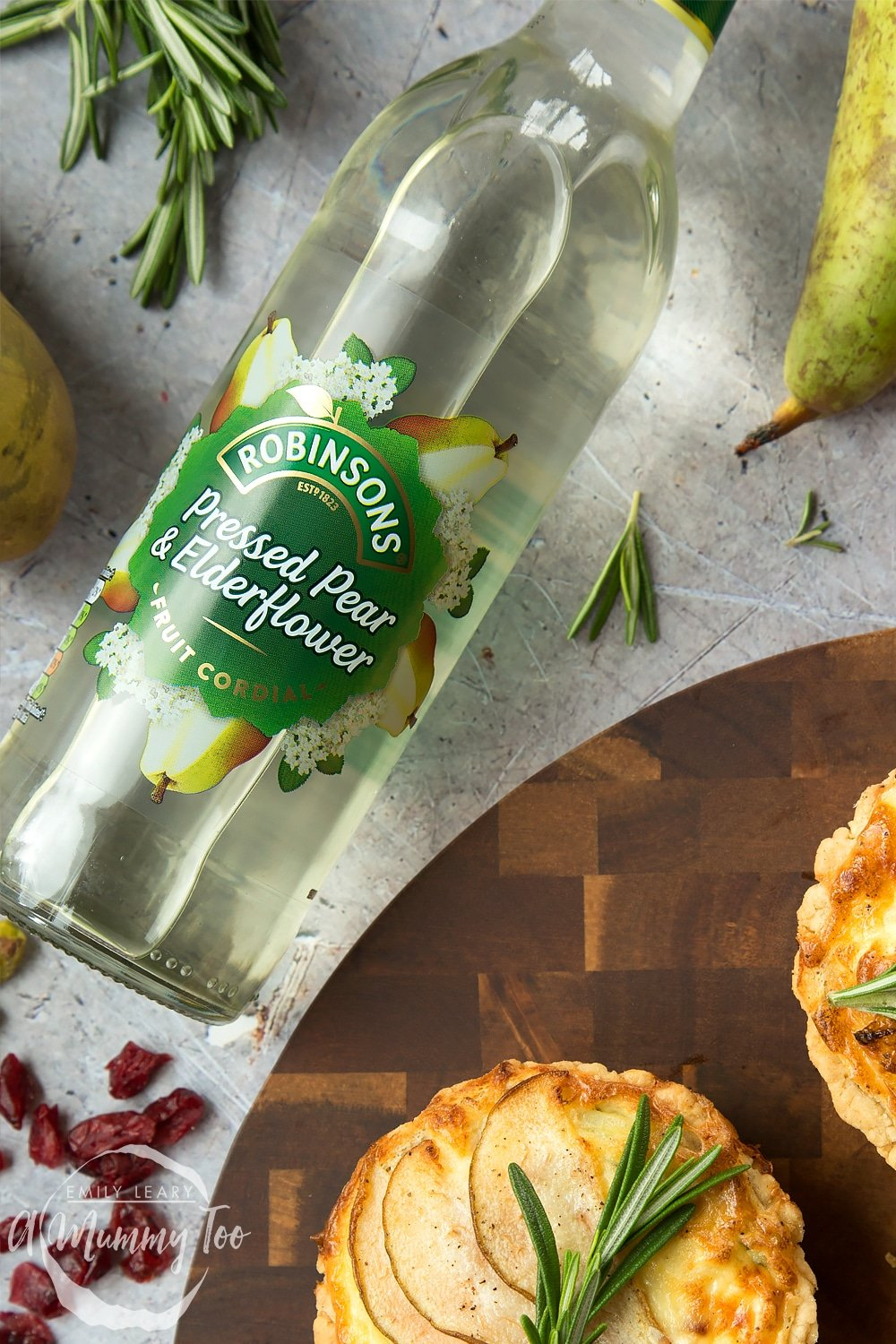 Robinsons Pressed Pear and Elderflower fruit cordial - the perfect accompaniment to these rosemary goat's cheese tarts