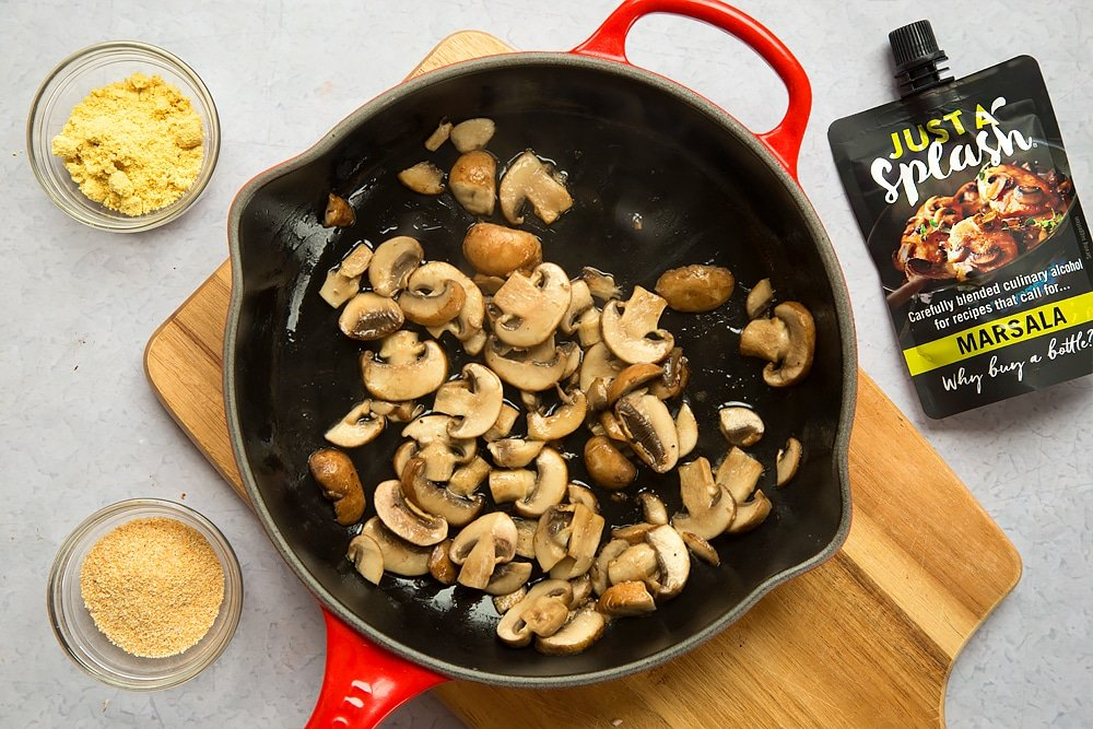Sauteed mushrooms in a pan