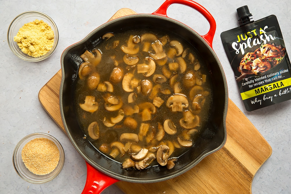 Preparing the creamy marsala mushrooms