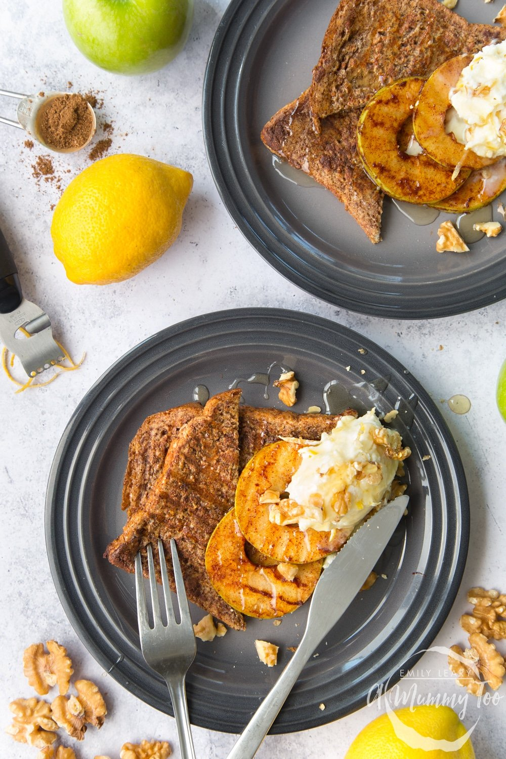 Cinnamon French toast with griddled apple slices and lemon mascarpone