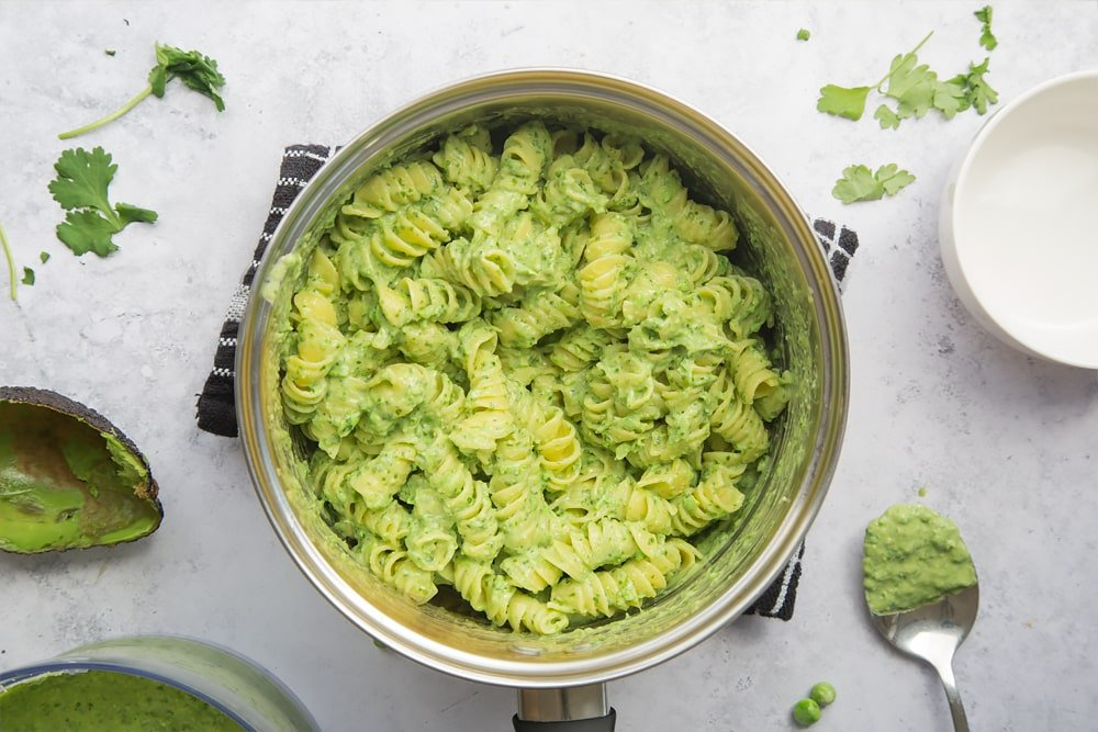 Quick, vibrant green pasta sauce mixed with cooked pasta