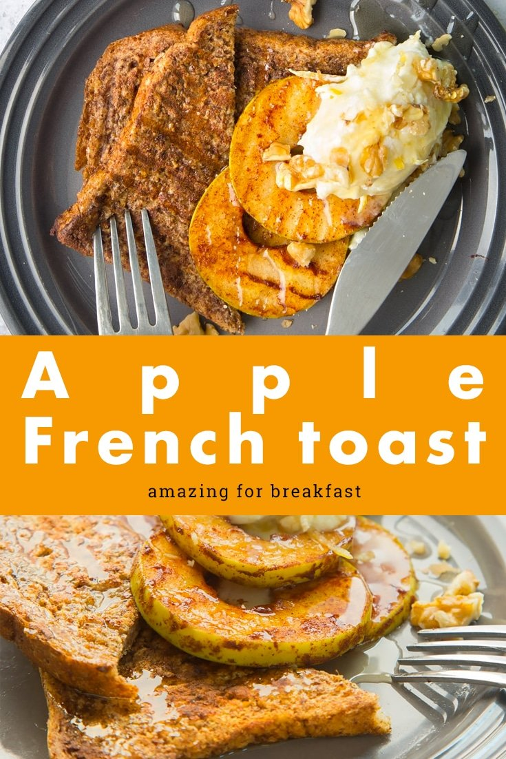 Try this delicious apple french toast recipe for breakfast. Discover more and follow the recipe from A Mummy Too #recipe #breakfast #frenchtoast