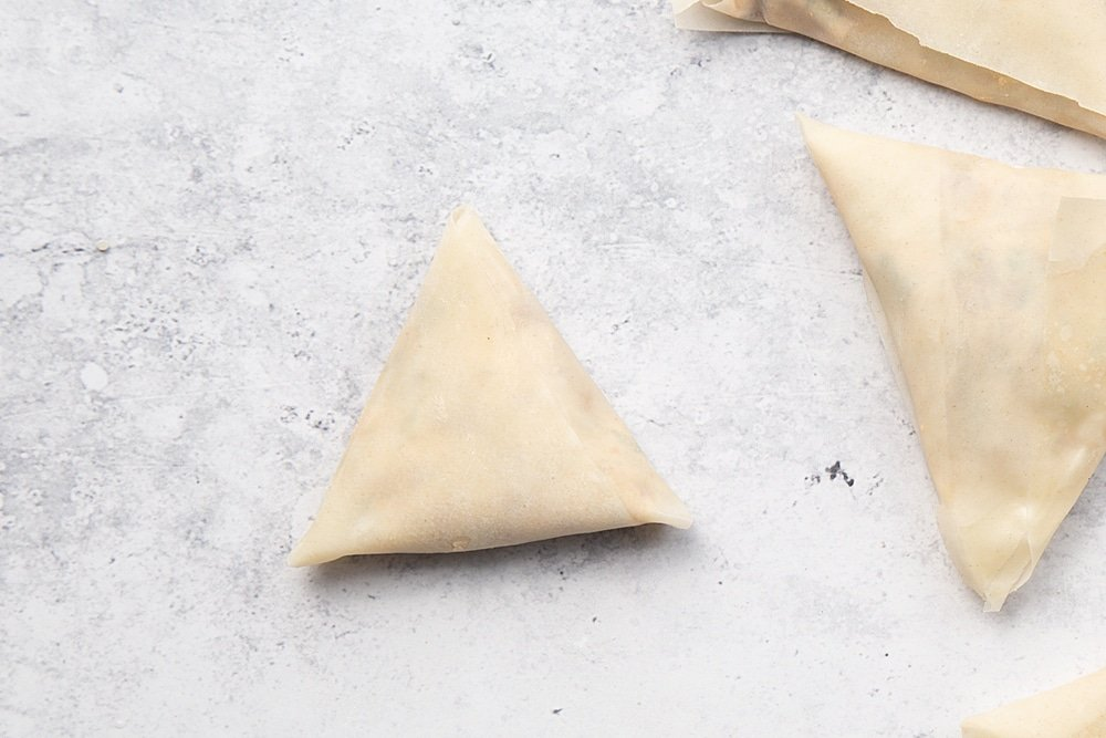 Your finished olive and sun-dried tomato filo parcels