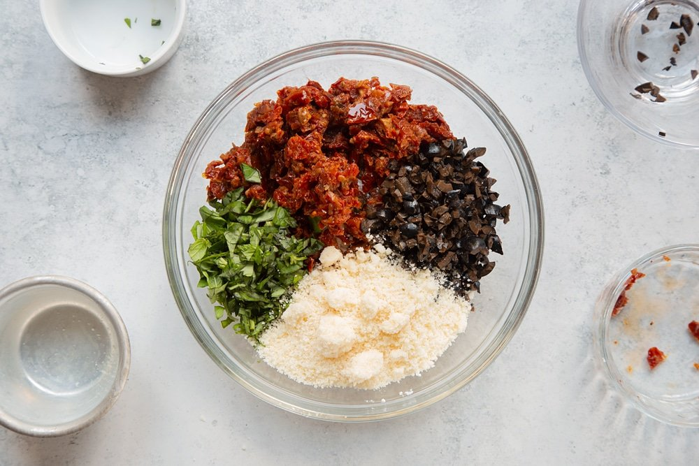 Combine the olive and sun-dried tomato filling ingredients in a bowl