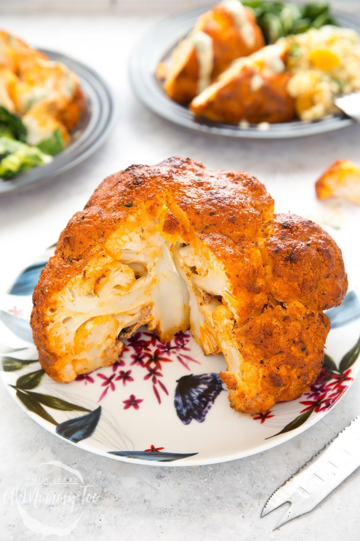 Close up of harissa roasted cauliflower