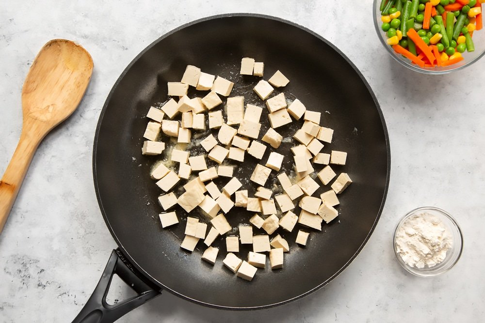 Prepare the tofu in a frying pan