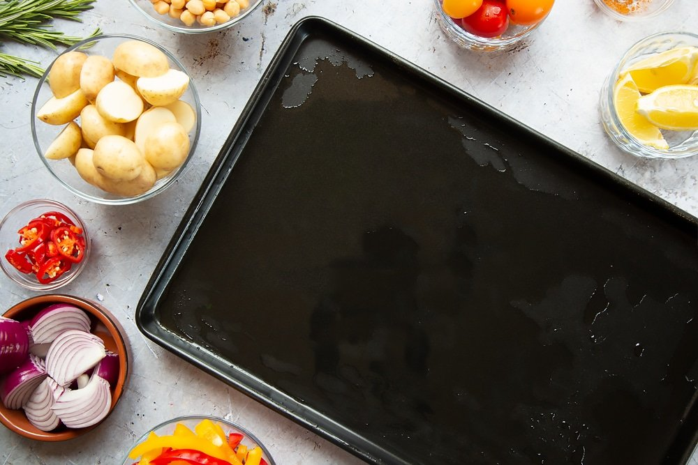 An oiled sheet pan