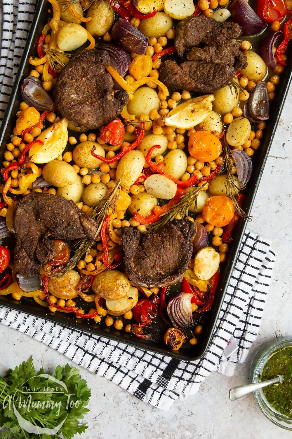 A lamb steak and veg sheet pan meal fresh from the oven