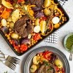 Succulent lamb steak and veg sheet pan meal