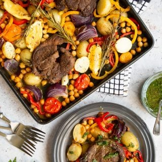 Succulent lamb steak and veg sheet pan meal