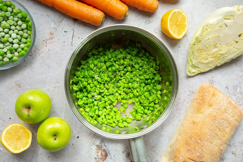 Making homemade mushy peas to serve with this healthier fish finger sarnie
