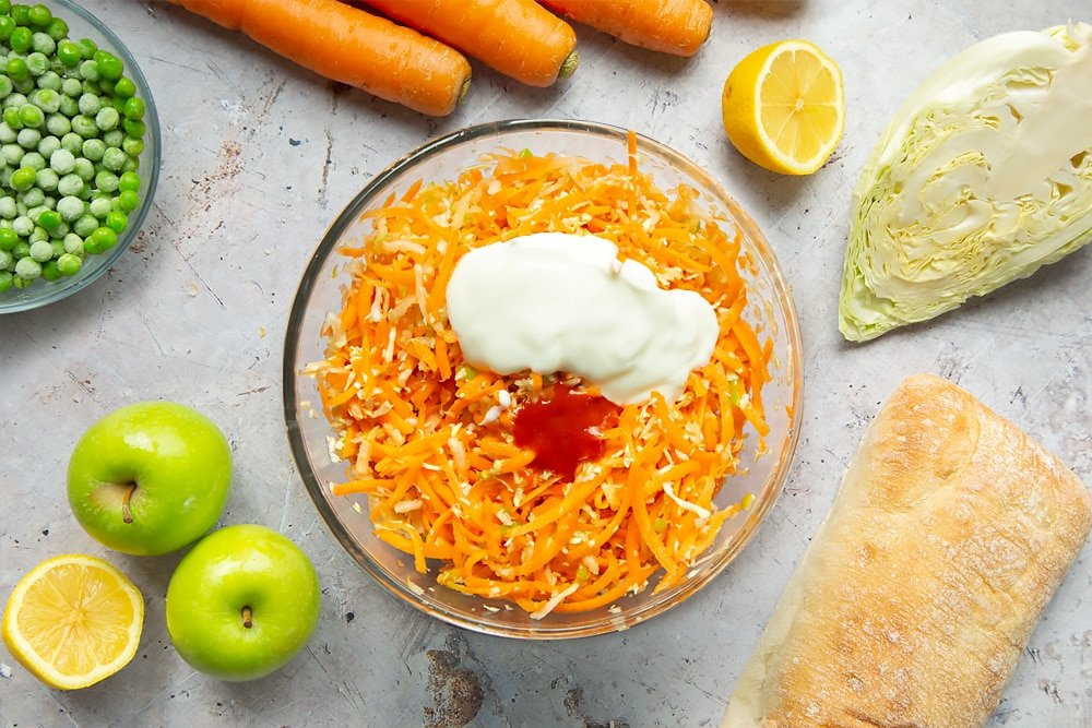 Ingredients to make homemade coleslaw