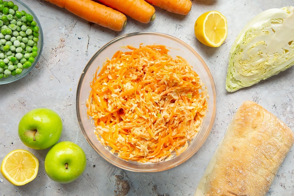 Homemade coleslaw in a glass bowl