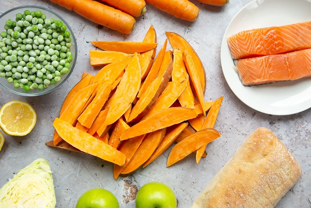 Sliced sweet potatoes for the wedges