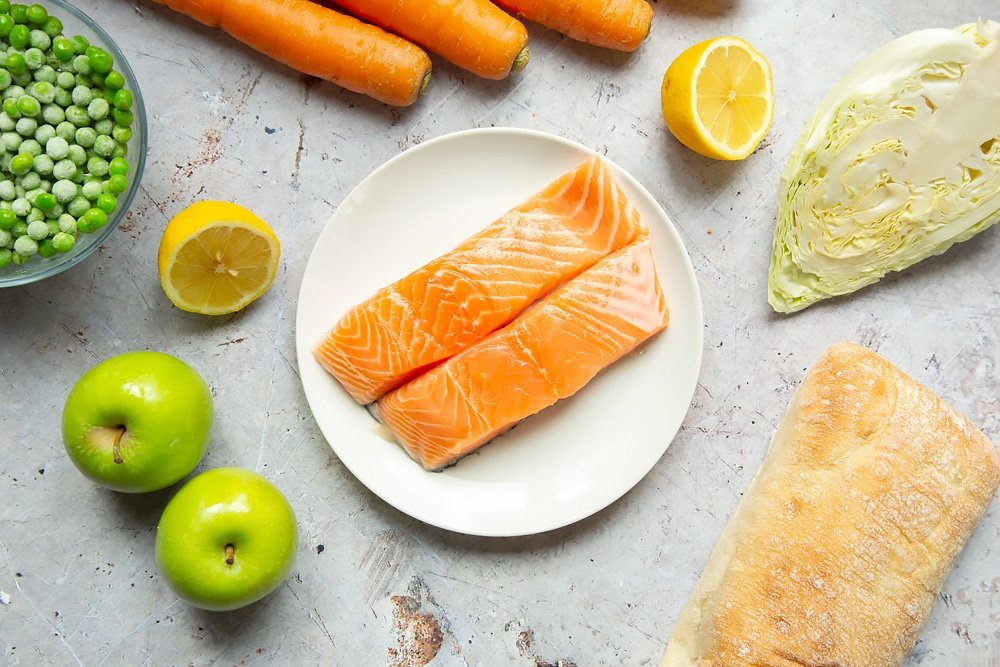 Responsibly sourced salmon fillets on a plate
