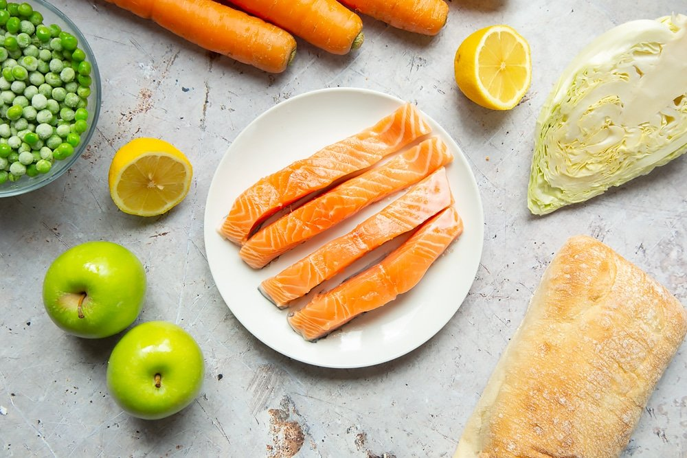 Sliced salmon fillets on a plate
