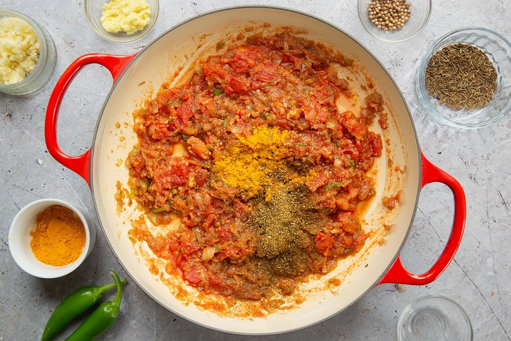 Turmeric, ground cumin and coriander are added to the pan