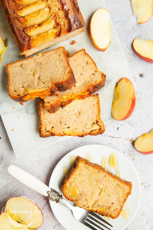 A sliced apple, cinnamon and honey cake