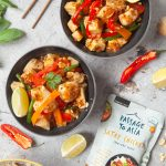 Chicken and tofu satay stir-fry