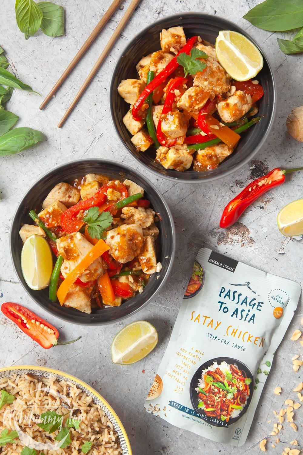 Chicken and tofu satay stir-fry made with Passage to Asia sauce