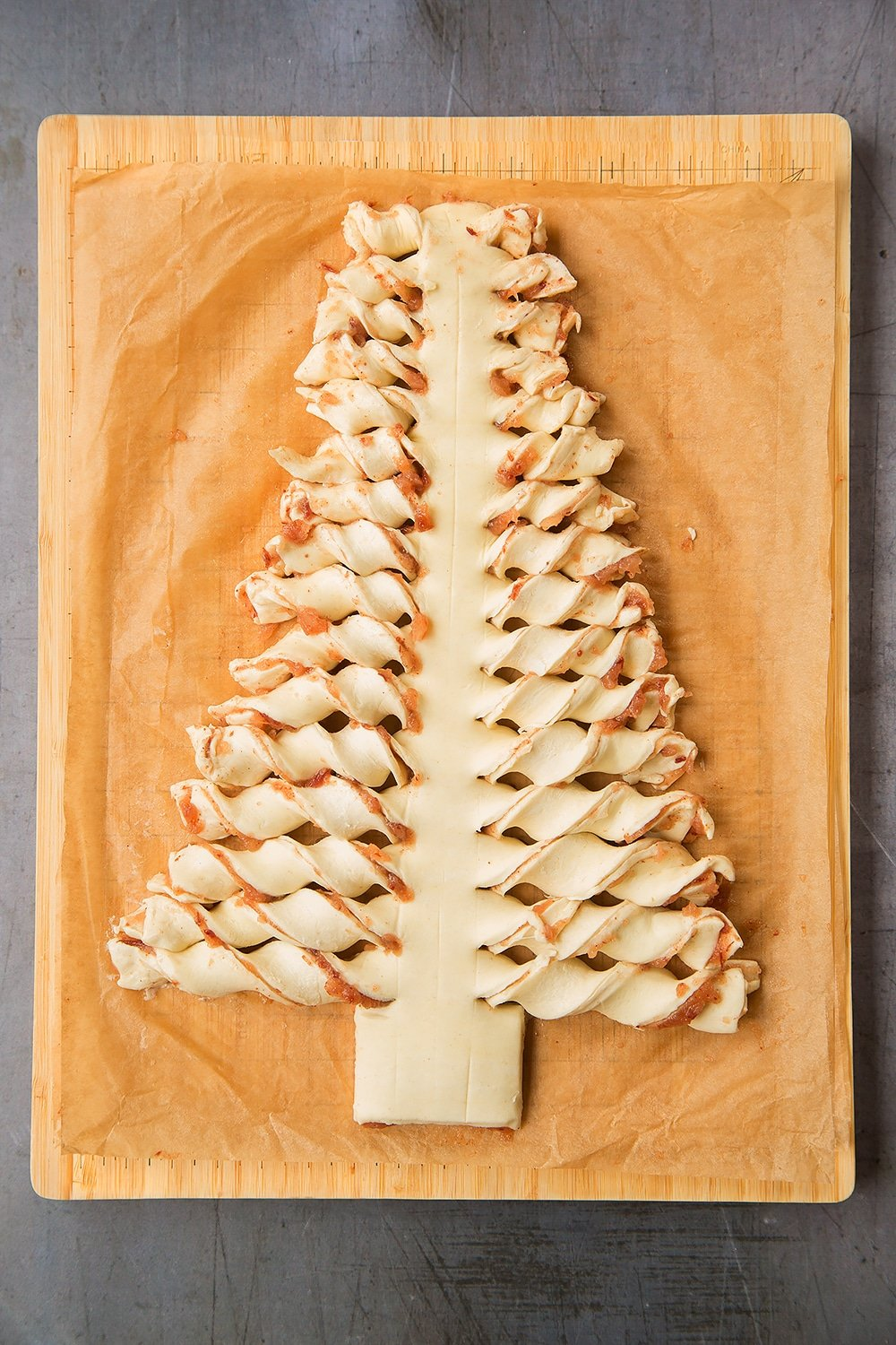 Twist the tree branches to create this puff pastry Christmas tree