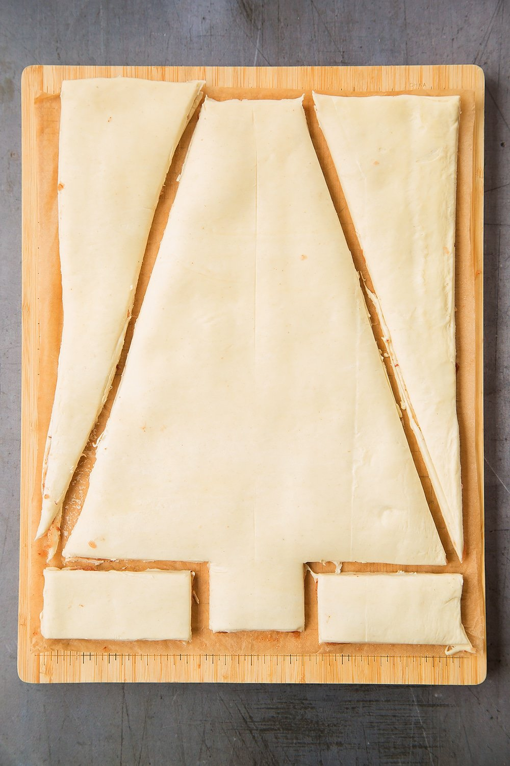 Cut a Christmas tree shape from your puff pastry