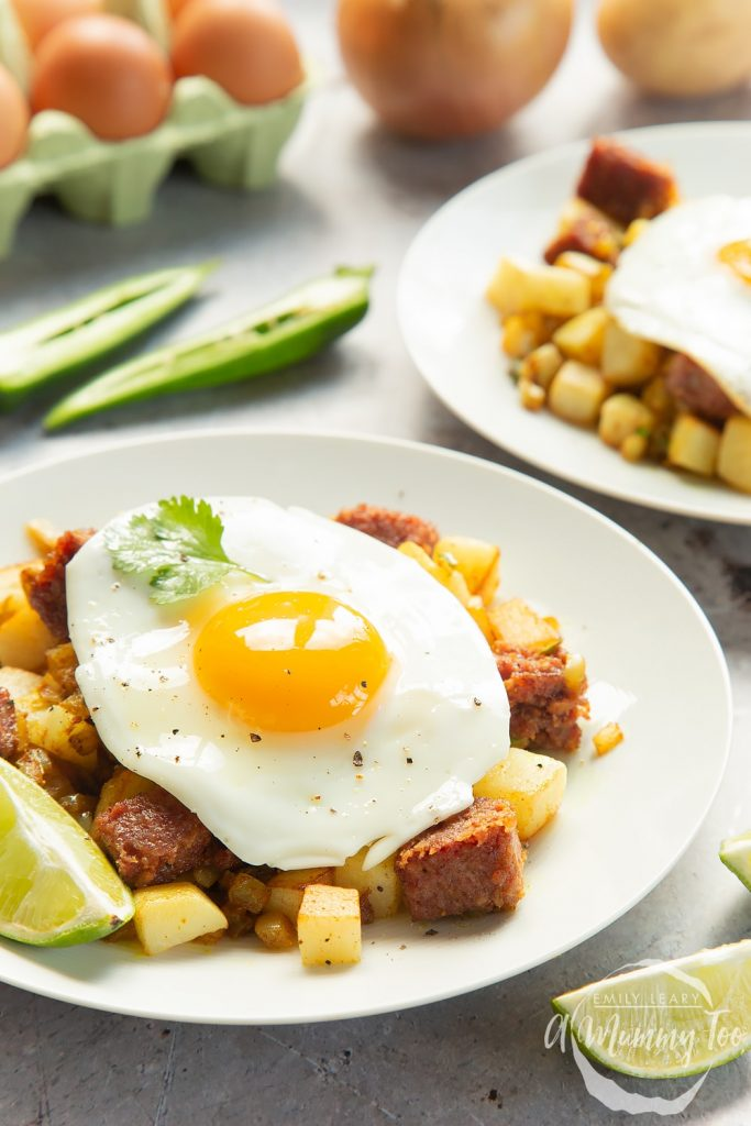 Curried corned beef hash topped with a fried egg