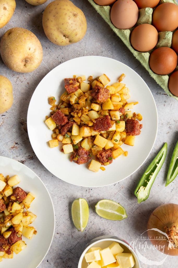 Serve your curried corn beef hash to two plates