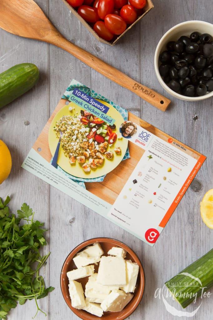 10-Min speedy Greek chicken salad recipe card